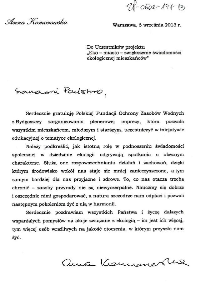 List A.Komorowskiej
