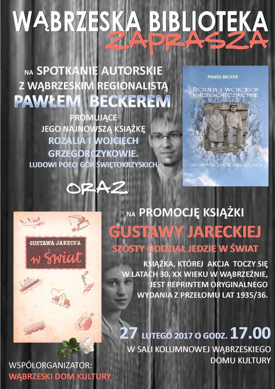 Plakat - zaproszenie na promocję książki Pawła Beckera i Gustawy Jareckiej