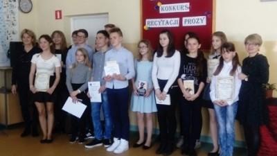 Uczestnicy XVI Rejonowego Konkursu Recytacji Prozy - Wąbrzeźno, 6 kwietnia 2017r.