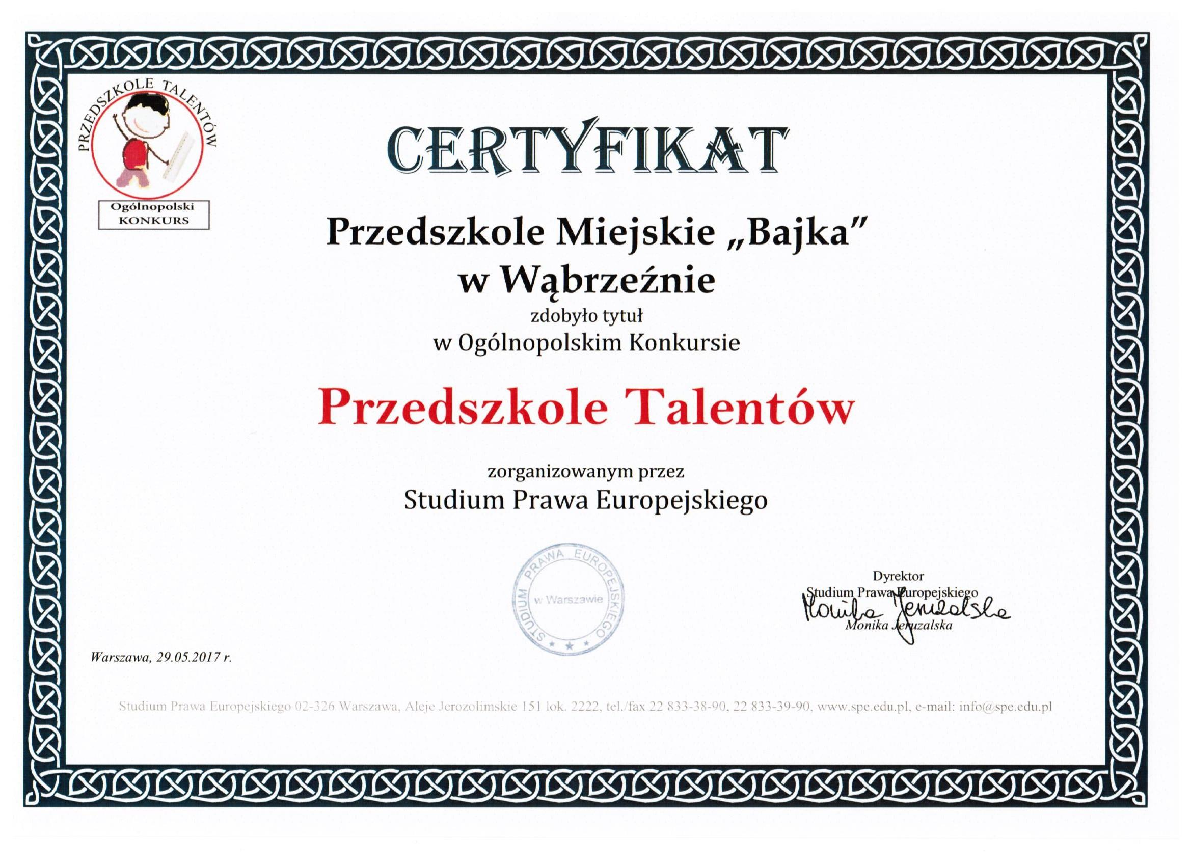 Certyfikat Przedszkole talentów