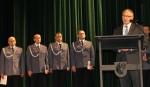 Święto Policji - obchody 12 lipca 2017 r. Przemawia starosta wąbrzeski Krzysztof Maćkiewicz