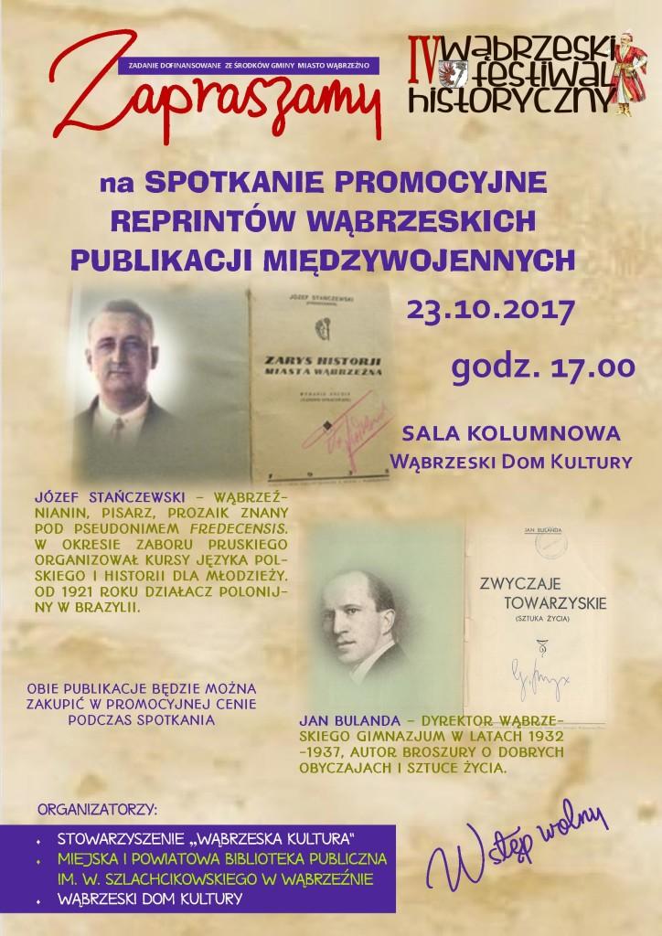 IV Wąbrzeski Festiwal Historyczny - zaproszenie na promocję reprintów książek J. Stańczewskiego oraz Jana Bulanda