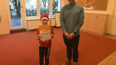 Tymek Strzelecki z Przedszkola Bajka był najmłodszym wolontariuszem świątecznej zbiórki żywności
