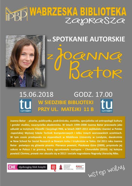 Biblioteka zaprasza na spotkanie z Joanną Bator