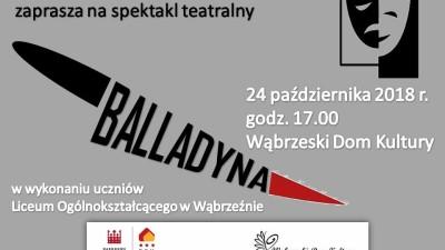 Zaproszenie na sektakl Balladyna