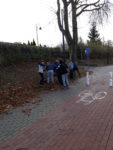 Uczniowie SP 2 w Wąbrzeźnie zbierają liscie kasztanowców,by je spalić wraz z poczwarkami szrotówka kasztanowcowiaczka. Listopad 2018 r.Fot. SP 2(7)
