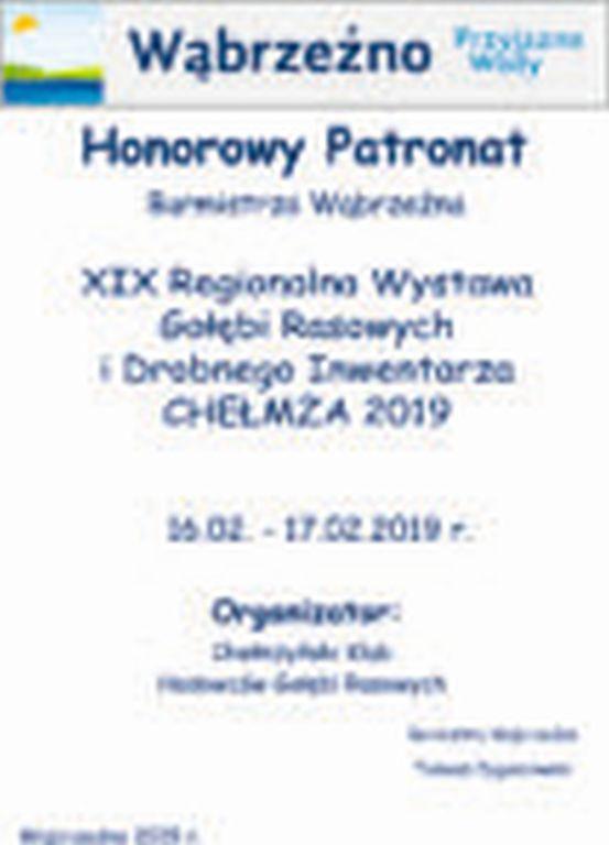 XIX Regionalna Wystawa Gołebi Rasowych - Chełmża - patronat honorowy Burmistrz Wąbrzeźna