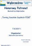 HonorowyPatronatBurmistrza Wąbrzeźna - Turniej Szachów Szyblich FIDE - 7.10.2017r.